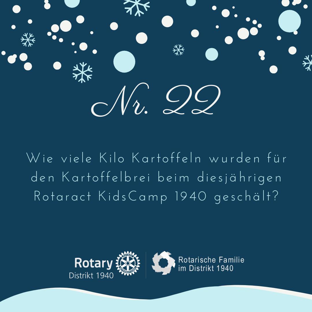 22. Wie viele Kilo Kartoffeln wurden für den Kartoffelbrei beim diesjährigen Rotaract KidsCamp 1940 geschält?